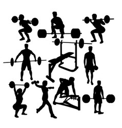 Weightlifting sport activity silhouettes vector