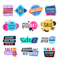 Fashion design pricing tags and discount labels vector