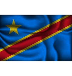 Crumpled flag of congo on a light background vector