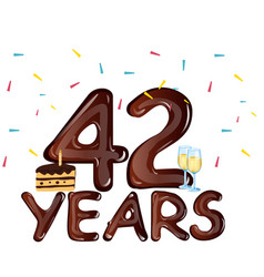 42 years anniversary celebration with cake vector image