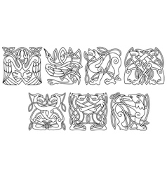 Abstract celtic animals and birds patterns vector image