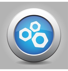 Blue metal button with nuts vector