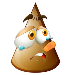 Brown cone with crying face vector