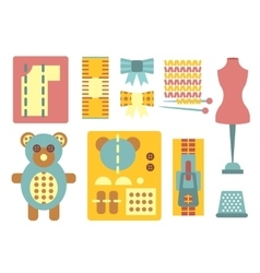 Handicraft and sewing icons in flat style vector