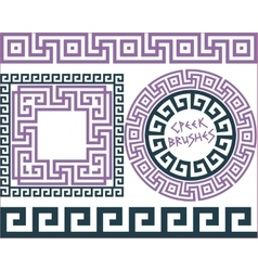 Set 5 brushes greek meander patterns vector