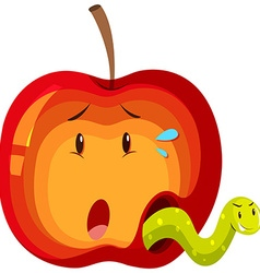 Apple with green worm inside vector image