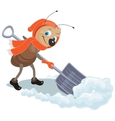 Ant removes snow shovel snow clearance vector