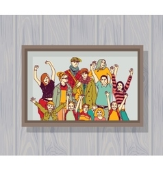 Big happy family group color photo on the wall vector