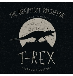 T-rex growls at the moon vector
