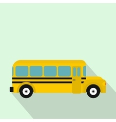 Yellow school bus icon flat style vector