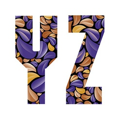 Beautiful floral alphabet letters Y and Z vector image