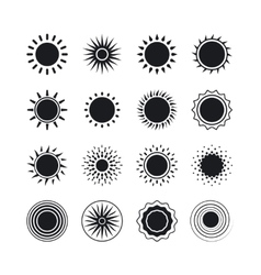 Black sun icons vector