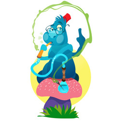 blue caterpillars on a magic mushroom to the vector image vector image