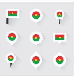 burkina faso flag and pins for infographic and vector image vector image