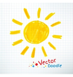 Childlike drawing of sun vector