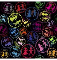 children stamps vector image vector image