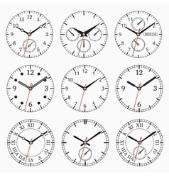 Clock watch collection vector image vector image