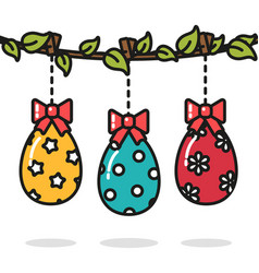 Easter eggs hanging on the branch colorful vector
