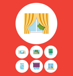 Flat icon frame set of balcony cloud glazing and vector