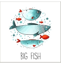 Funny fishes in circle vector