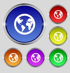 Globe icon sign round symbol on bright colourful vector