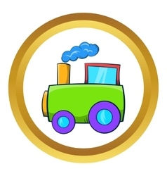 Green toy train icon vector