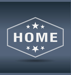 Home hexagonal white vintage retro style label vector