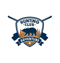 Hunting club sporting badge with wild bear vector
