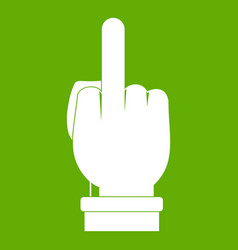 Middle finger hand sign icon green vector