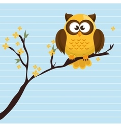 owl yellow tree leaves yellow vector image