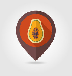 Papaya flat pin map icon tropical fruit vector