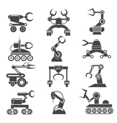 Robot arms black icons vector image