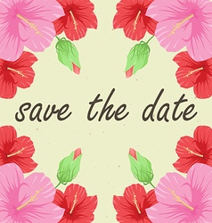 Save the date card with flowers vector