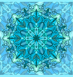 Seamless texture with blue carved pattern mandala vector
