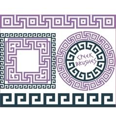 Set 5 brushes greek meander patterns vector