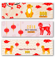 Set banners with chinese new year earthen dog vector