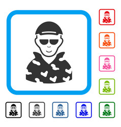 Swat soldier framed happiness icon vector