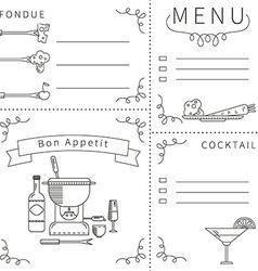 Template menu fondue black white vector image