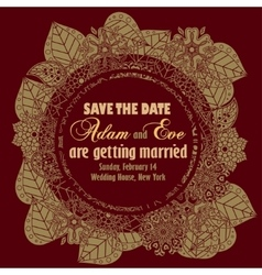 Wedding invitation vintage style vector image