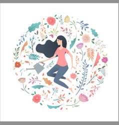 Young woman in a circle of flowers with a garden vector