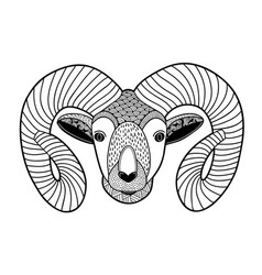 zentangle head of mountain ram for coloring vector image