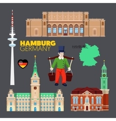 Hamburg germany travel doodle with architecture vector
