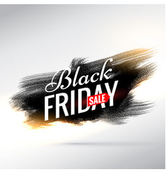 Black friday sale banner with black paint brush vector