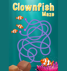 Game template with clownfish and coral reef vector