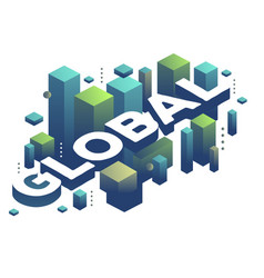 Three dimensional word global with abstract green vector