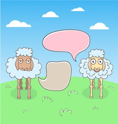 Sheep conversation with speech bubbles vector