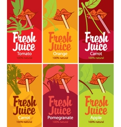 Fresh juice set vector