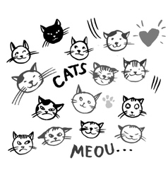 Icons of cat smiling faces vector