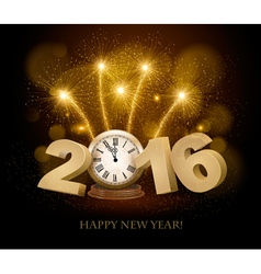 Happy new year background with 2016 a clock and vector