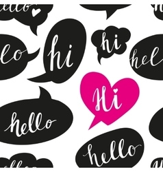 Speech bubbles with hello word seamless pattern vector